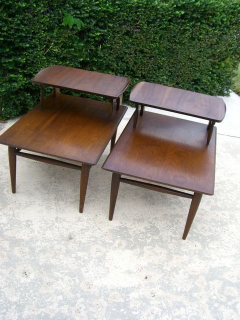 vintage mid century modern end tables danish modern eames style