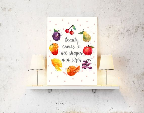 Beauty Comes in All Shapes and Sizes by loveunlimited on Etsy  #quote #unique #design #loveunlimited #fruit #colorful #handmade #inspiration #picture #cover