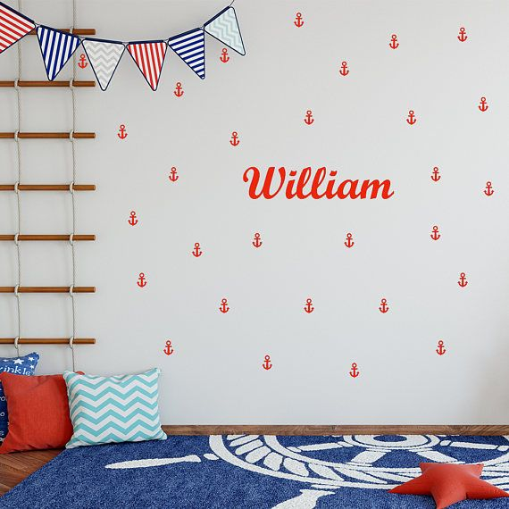 Anchor wall decal, personalized name decal, wall sticker, vinyl wall decal, custom wall decal, decal stickers, room decal, wall decal 418