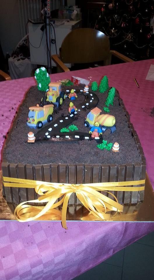 torta per appassionati di escavatori