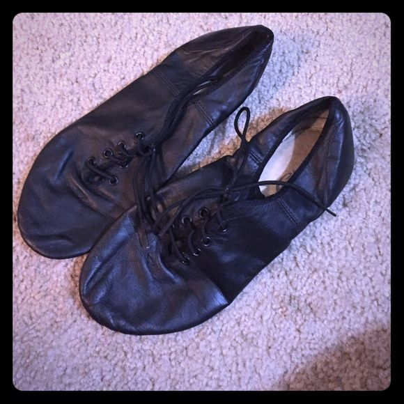 Black capezio laced split-sole leather Jazz shoe I wore these for probably 6 months and then quit dance but they are the most comfortable jazz shoes I've ever had! Capezio Shoes Athletic Shoes