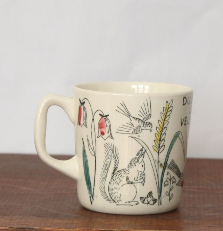 Vintage Stavangerflint Norwegian Cup with Birds, Leaves, Squirrel, Cat, Nature, Nordic Mug, Graphic Coffee Cup. - pinned by pin4etsy.com