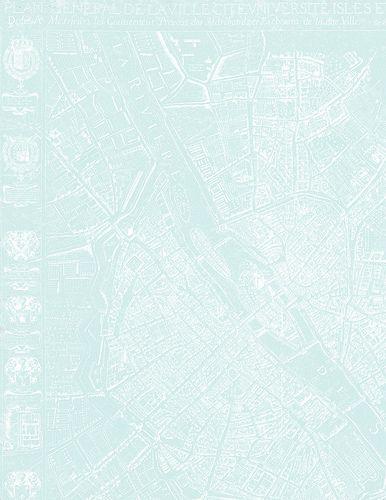 2b Paris map 1654 Plan de Boisseau VERY LIGHT TURQUOISE - LETTER size 8.5 x 11 inch