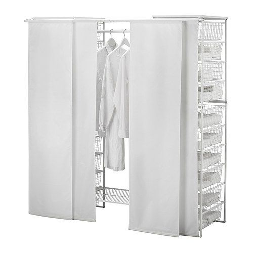 hmmm... I think I might like the idea of these sliding screens to neaten up the look of the closet.  ikea has pretty ones and they are inexpensive