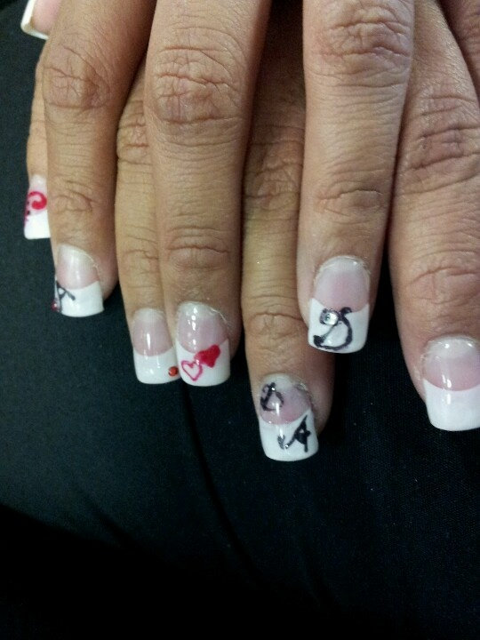 french tip with my on my friendwith hearts and her and he bf intials