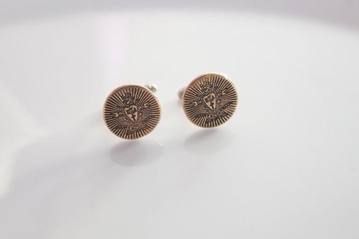 Pi Kappa Alpha Cufflinks in Bronze / PIKE Fraternity Crest Cufflink in Goldtone // Greek License Fraternity Menswear // PIKE Crest by willajunejewelry for 20.00 USD
