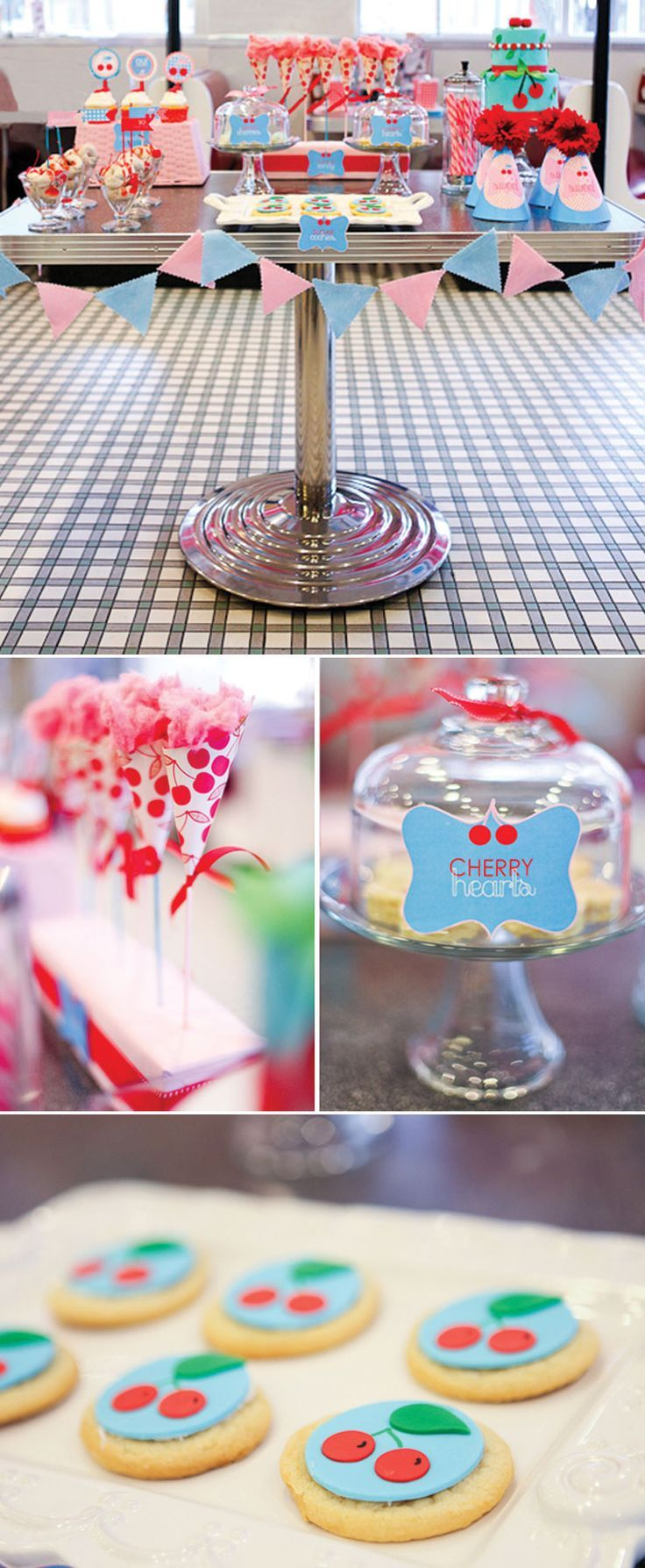 Throw a perfect Cherry Party at your local diner for a fun retro twist!  This Retro Cherry Party should by Lindi Haws should give you lots of fun  ideas!