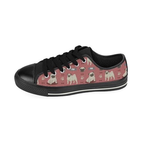Pug Pattern Black Low Top Canvas Shoes for Kid