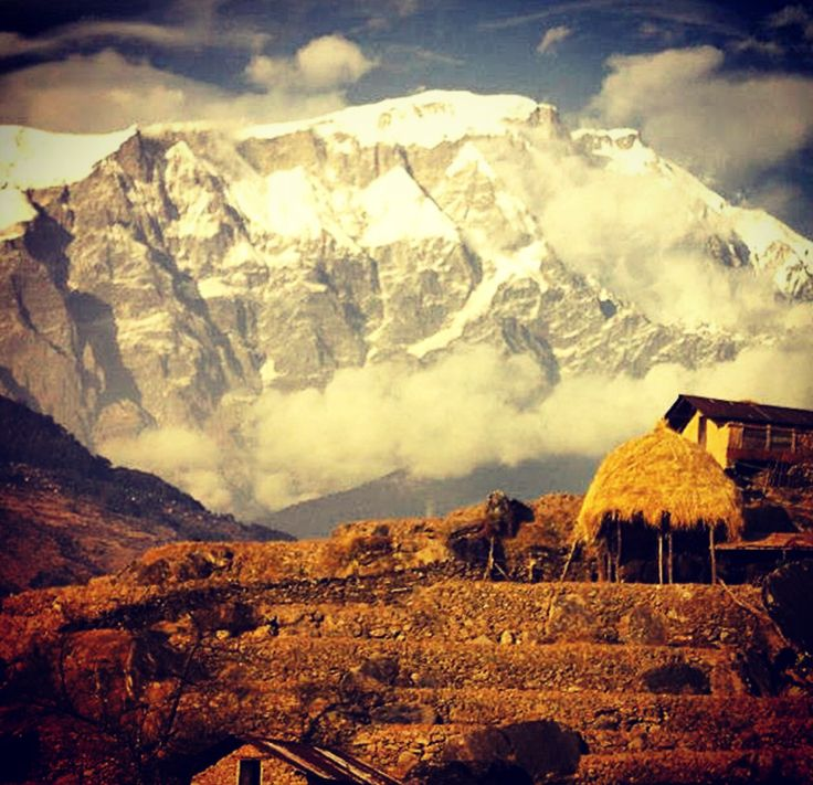 Annapurna region of the Himalayas, Nepal, on the start of our trek, heading towards tang ting
