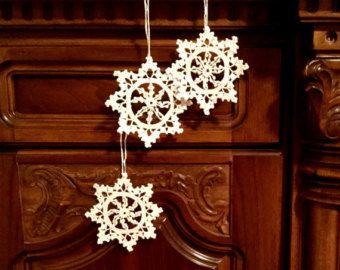 Haak Kerst ornamenten White gehaakte sneeuwvlokken kerst decoratie kerst ster kleedje Snowflake Christmas chaplet bruiloft Decors