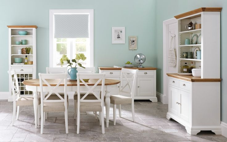 Buy the Hampstead Oak & Ivory 120cm Round Extending Dining Table with Chairs at Oak Furniture Superstore
