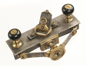 """A most unusual German steel compass rebate plane with adjustable steel fence and heavy brass fittings stamped SHUL MARZ 08 with 11"""" bed and rotating 1 3/4"""" cutter, wonderful quality (see Russell fig. 825 for slightly smaller model) the only two known. G+ http://www.davidstanley.com/tools%20we%20have%20sold.htm"""