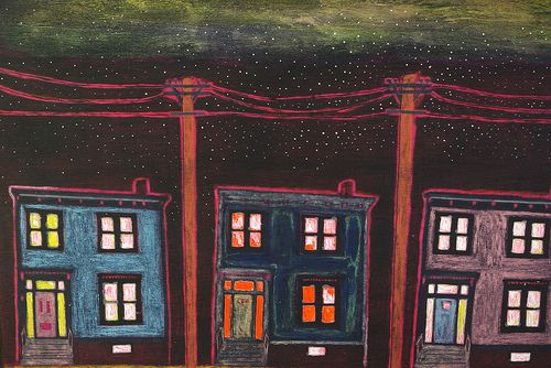 """""""Edward Street"""" 18"""" x 24"""" by Andy MacDonald Acrylic and Resin on Board. Find Andy's work at Argyle Fine Art in Halifax, Nova Scotia :)"""