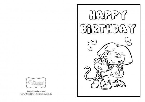 Dora The Explorer birthday card Printable Printables