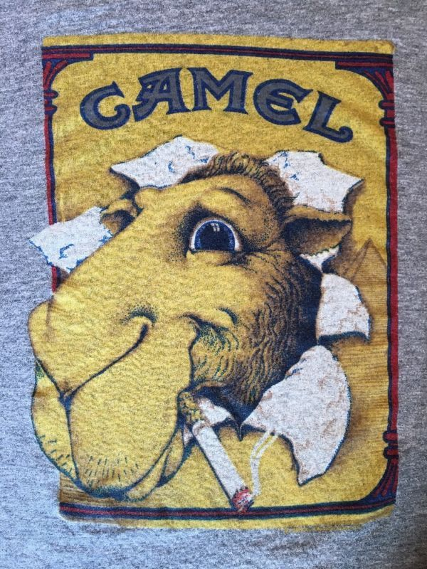 "Vintage 80's Heather Gray Tri Blend Joe Camel T Shirt ""Sneakers""  VGC Size Large"