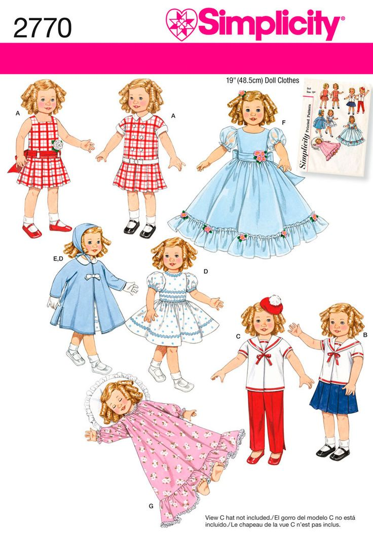 Vintage Doll Clothes For 19 Inch Doll Sewing Pattern 2770