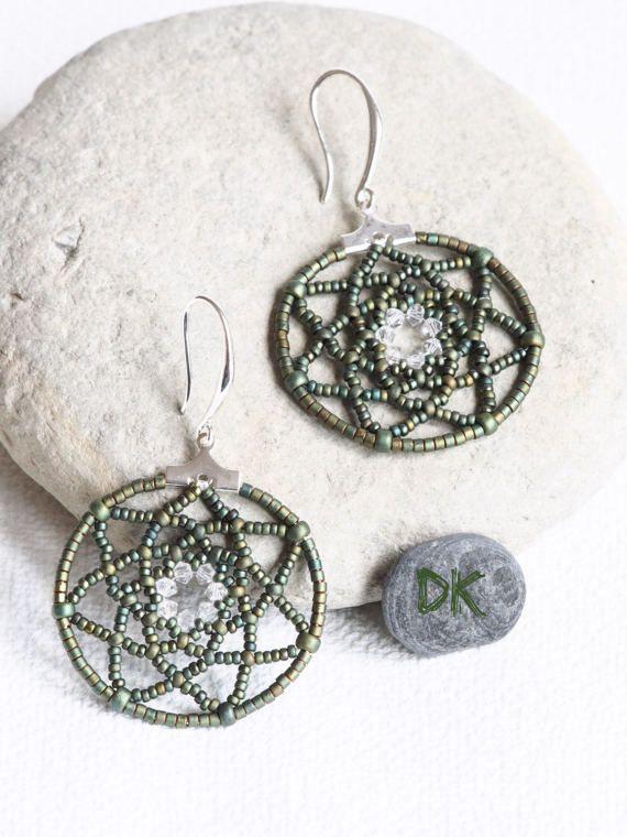 boucles doreilles créoles bijou vert boucles par DKreationKitti
