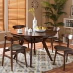 Montreal Walnut Brown One Piece Dining Table, Medium Brown Wood