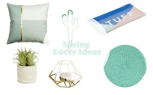 Spring Decor Ideas #decor #spring #ideas #pillows #mintgreen #decorativeitems #cactus #candles