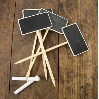 Mini Chalk Boards (4 for $10)  Great for the window box herb garden. A little feature to show off your green thumb.  Made from wood, with blackboard-paint face. 4 chalkboards per pack.  Available in: ? Rectangle ? House