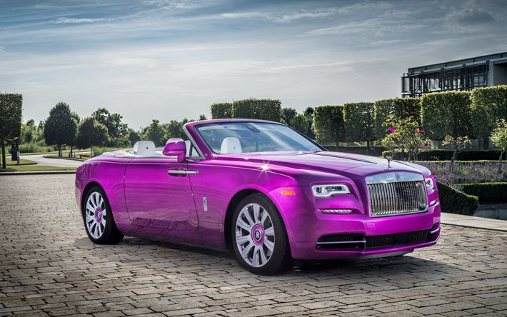 Download wallpapers 4k, Rolls-Royce Dawn, 2017 cars, Fuxia color, pink Rolls-Royce, luxury cars, Rolls-Royce