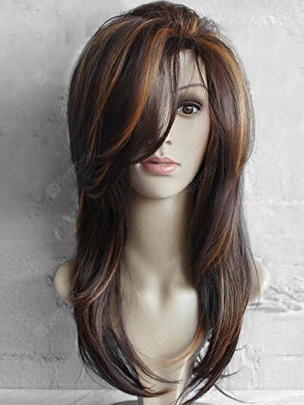 Just $16.79, buy Long Side Bang Highlighted Natural Straight Synthetic Wig online shopping at Gearbest.com Mobile.