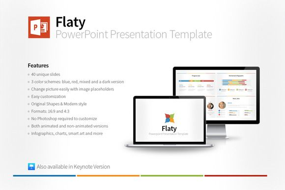 Flaty PowerPoint Template by Creative Fox on @creativemarket