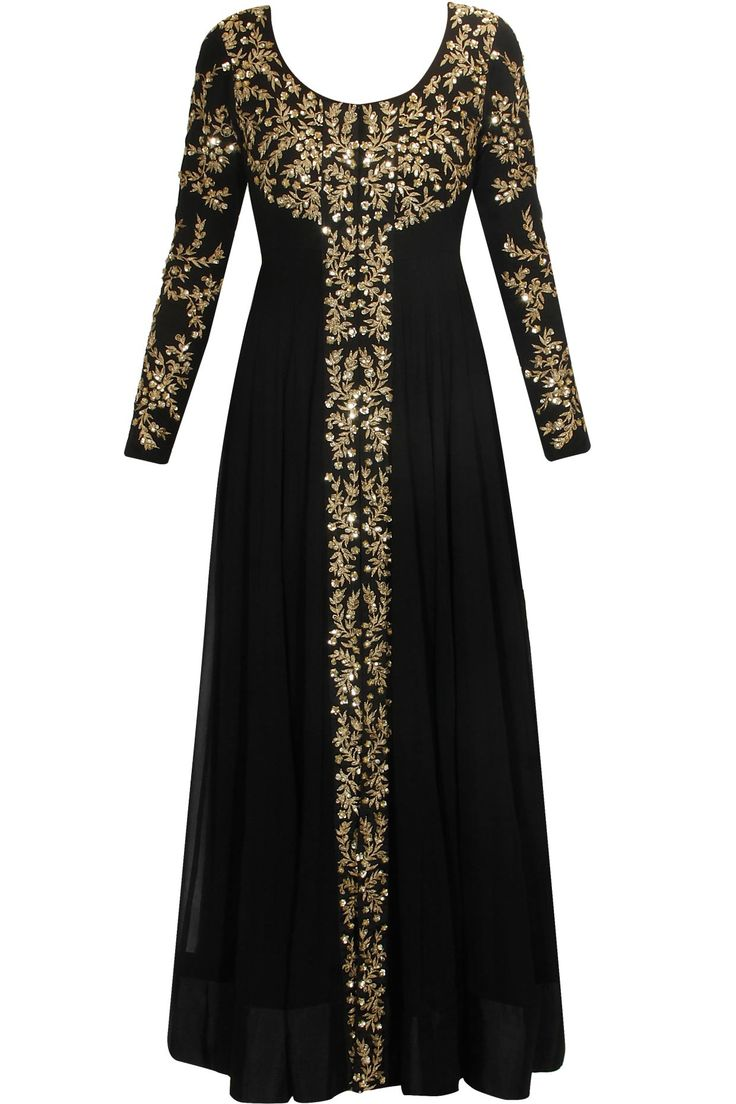 PRATHYUSHA GARIMELLA Black embellished long jacket with black inner gown available only at Pernia's Pop Up Shop.