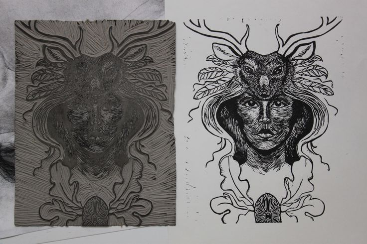 """""""Dependence"""" Lino Print Meffan Gallery piece. 10.5""""by 8.3"""""""