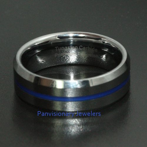 30 Thin Blue Line Tungsten Carbide Ring Epoxy 8mm Red