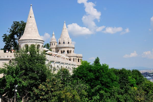 Fisherman's Bastion, running parallel to the Danube, Budapest. The seven stone towers with pointed tops symbolize the leaders of the Magyar tribes who conquered the country in 896.