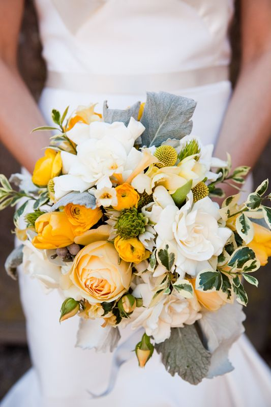 Mustard yellow, grey and white bouquet with accents of soft greens.