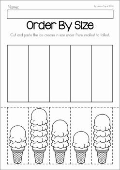 Summer Review Preschool No Prep Worksheets & Activities. Order by size: shortest to tallest ice cream
