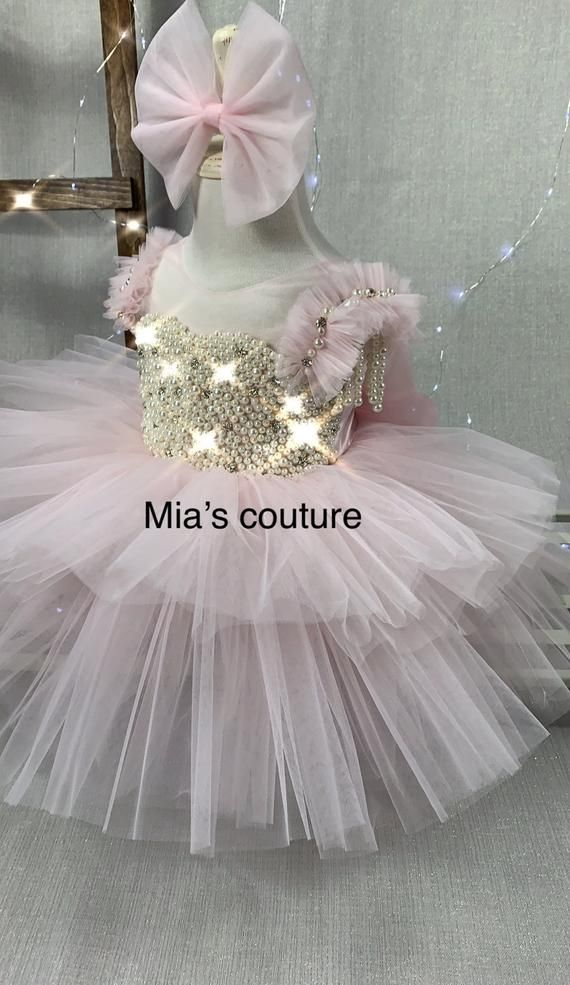 Handmade baby girl princess Pink flower girl feather dress  shabby chic pageant princess gown