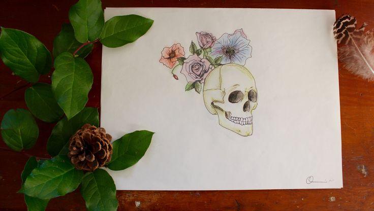Skull Face Original Handrawn Pen