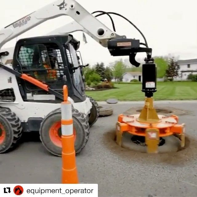 I've never seen this before but I could watch it over and over. It cuts a clean circle through the asphalt to allow for a cement apron to get poured around manhole openings. #contractor #contractors #construction #build #builder #builders #skidsteer #loader #toolsofthetrade #tools #farmlife #countrylife #diamondblades #asphalt #concrete #concretesaw #newtools #toolbox  #manholecover