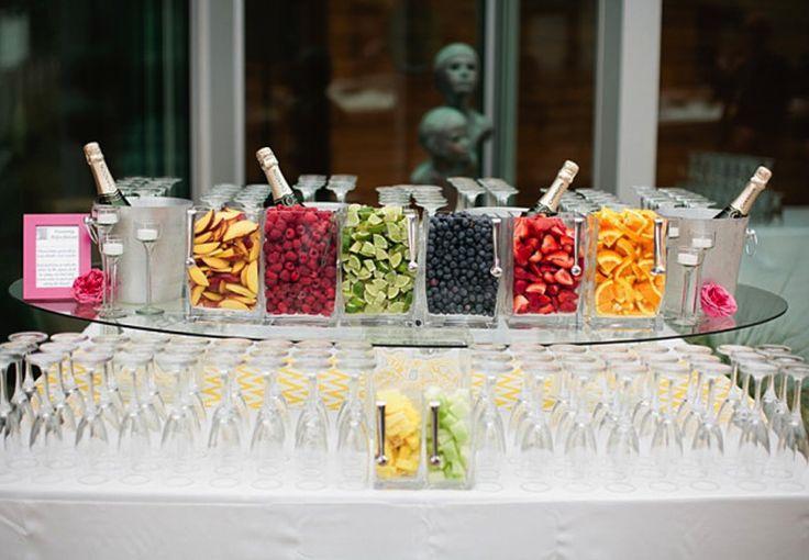Champagne bar with assorted fresh fruits as garnish (After Yes – Dallas Wedding Planner Blog) #champagnebar #drinksbar #weddingdrinksbar