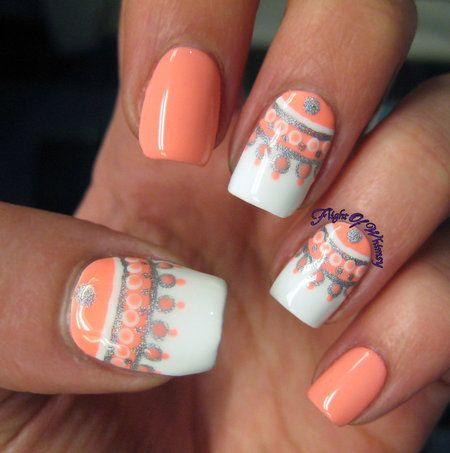 Half Moon Chandelier in Coral & White Polish #nails #nailart - bellashoot.com