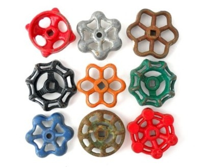 Love old hose knobs, especially arranged like this.