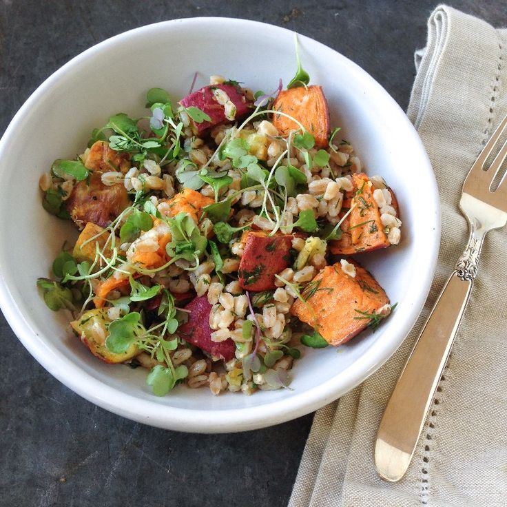 roasted sweet potato and farro salad - Marin Mama Cooks