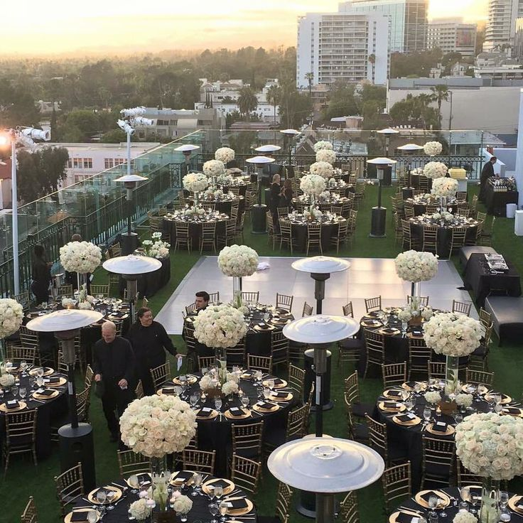Cute Roof Top Reception Set Up