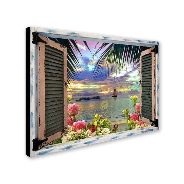 'Tropical Window to Paradise III' Graphic Art Print on Wrapped Canvas