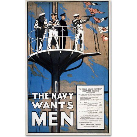 Trademark Fine Art Recruitment Poster for the Royal Canadian Navy Canvas Art, Size: 22 x 32, Multicolor