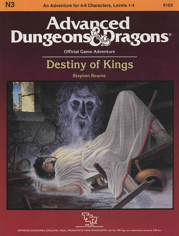 N3 Destiny of Kings (1e) (1986) | Book cover and interior art for Advanced Dungeons and Dragons 1.0 - Advanced Dungeons & Dragons, D&D, DND, AD&D, ADND, 1st Edition, 1st Ed., 1.0, 1E, OSRIC, OSR, Roleplaying Game, Role Playing Game, RPG, Wizards of the Coast, WotC, TSR Inc. | Create your own roleplaying game books w/ RPG Bard: www.rpgbard.com | Not Trusty Sword art: click artwork for source | Not Trusty Sword art: click artwork for source
