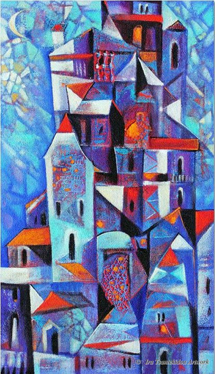 Blue Evening by Ira Tsantekidou. Oil on Canvas (Serie Cities).