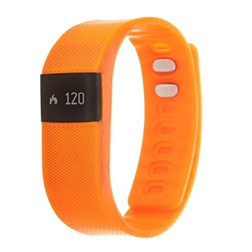 Zunammy Women's 'Activity Tracker with Call and Message Reminders' Digital LED and Rubber Smart Watch, Color:Orange (Model: NWTR021OR)