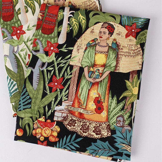 telas vintage Frida Kahlo print poplin cotton patchwork fabric meter sewing cloth dress tecidos para artesanato textile material from Reliable fabric calico suppliers on Global Commodity City
