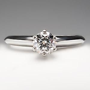 Tiffany & Co 1/2 Carat Diamond Solitaire Engagement Ring Classic 6-Prong Platinum The Tiffany Setting