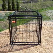 For personal dogs in garage setup.  Walmart: ASPCA Heavy Duty Dog Kennel with Predator Top, Multiple Sizes Available