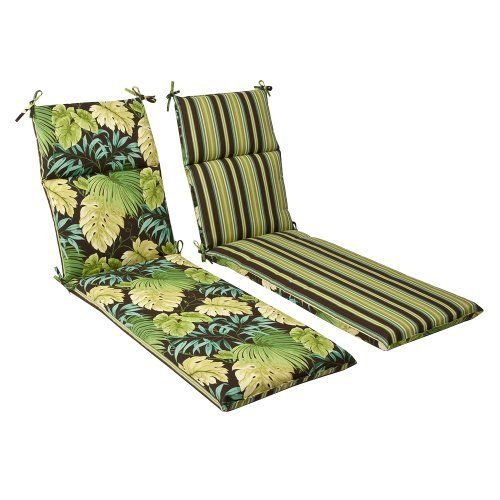 Pillow Perfect Outdoor Green/Brown Tropical/Striped Reversible Chaise Lounge Cushion by Pillow Perfect. $74.99. 100% Polyester. Spot clean only. 100-Percent polyester fiber. Fade resistant, mildew resistant, uv protection, water resistant, weather resistant. Sewn seam closure, attaches with ties. 100-Percent polyester. Outdoor green/brown tropical/striped chaise lounge cushion reversible. Save 32% Off!